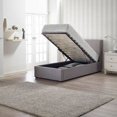 Newton Storage Single Bed In Grey Linen Fabric - Furniture In Fashion High Headboards, Ottoman Bed, Beds For Sale, Metal Beds, Baseboards, Linen Fabric, Floor Chair, Decorative Items, Storage Spaces