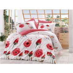 Lenjerie de pat dublu din Bumbac 100% Poplin Veronika Red Flat Sheets, Duvet Cover Sets, 1 Piece, Poplin, Comforters, Pillow Cases, Blanket, Home, Design