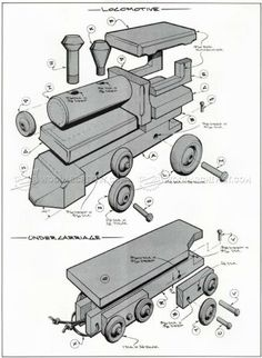 #1641 Wooden Toy Train Plans - Wooden Toy Plans