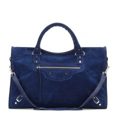 Balenciaga Classic City Suede Tote ($1,455) ❤ liked on Polyvore featuring bags, handbags, tote bags, blue, balenciaga tote bag, balenciaga, blue suede purse, suede leather handbags and balenciaga tote