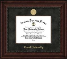 Cornell University Big Red - Gold Medallion - Suede Mat - Mahogany - Diploma Frame