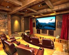 Home theater- hubby's dream basement! 😉 Home theater- hubby's dream basement! Home Theater Lighting, Home Theater Setup, Best Home Theater, At Home Movie Theater, Home Theater Speakers, Home Theater Rooms, Home Theater Projectors, Home Theater Design, Home Theater Seating