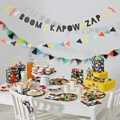 Our Meri Meri Superhero Party Collection will save the day (or any celebration for that matter). The lineup includes party décor, a cupcake kit, plates and napkins, plus tons more. Items are packed with classic comic book sayings in vibrant colors and prints. Don't forget to mix and match with pieces from our other party kits.<br /><br /><NEWTAG/><ul><li>A Meri Meri design</li><li>Perfect for birthdays or special occasions</li><li>Use this collection alone or mix and match with our other…