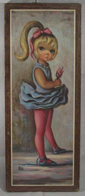 Mid Century Maio Moppet Big Eye Girl Ballerina Print Picture SEALED   eBay