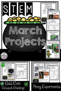 March STEM Challenges is a packet of five experiments or challenges your students will love! Students plan, design, engineer, and collect data as they are having fun before St. Patrick's Day!  Includes:  Teacher Page  ♣️Challenge 1: Gold Coin Catapult Challenge  ♣️Challenge 2: Penny Towers ♣️Challenge 3: Penny Water Drops ♣️Challenge 4: Create a Leprechaun Trap  ♣️Challenge 5: Create a Leprechaun House