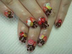 Yummy fruit and chocolate drip Kawaii nails