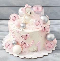 Birthday Cake For Daughter, 1st Birthday Cake For Girls, Butterfly Birthday Cakes, Creative Birthday Cakes, Elegant Birthday Cakes, Pretty Birthday Cakes, Baby Birthday Cakes, Cake Baby, Cake Designs For Girl