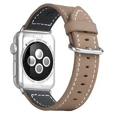 Apple Watch Band, Oittm Genuine Leather Apple Watch Strap with Adapter, Luxury Apple iWatch Wristband Bracelet with Stainless Steel Buckle Replacement Strap for Apple Watch (Khaki 42mm)  #42MM #Adapter #Apple #band #bracelet #Buckle #Genuine #iWatch #Khaki #Leather #Luxury #Oittm #Replacement #stainless #steel #Strap #Watch #Wristband MonitorWatches.com
