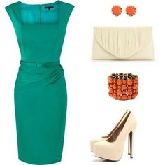 I would love a green dress like that but those heels are a killer!