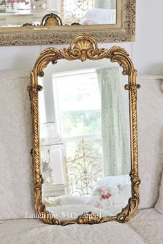 Love the patina of these old gold mirrors.