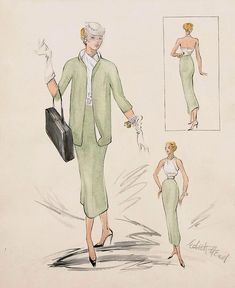 """cardinales: """" Edith Head's design for Grace Kelly in Rear Window. """" Probably my favorite outfit that Grace Kelly wears in Rear Window. Grace Kelly, Patricia Kelly, Costume Design Sketch, Best Costume Design, Hollywood Costume, Hollywood Fashion, Hollywood Gowns, Classic Hollywood, Alfred Hitchcock"""