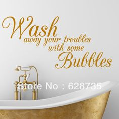 Free Shipping Wash Away Your Troubles waterproof removable vinyl wall art decal stickers,decorative Bathroom Quote decals,f3000