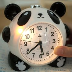 free shipping Home cartoon panda quieten lounged alarm clock 35414(China (Mainland))