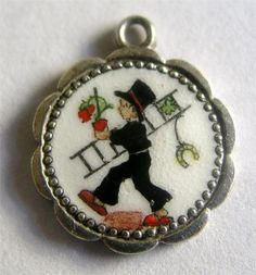 Vintage Deco German 800 Silver Enamel 'Very Lucky' Chimney Sweep Charm Cute | eBay