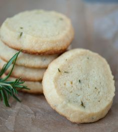 Rosemary Shortbread Cookies with 5 ingredients - no grains, gluten or refined sugar.  Perfect for a picnic or cookout.