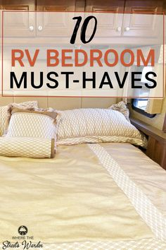 Do you wish you could magically make your RV bedroom bigger? These 10 Must-Have Items for Your RV Bedroom will help make your bedroom space more efficient. I wish I would have had these RV bedroom sto Travel Trailer Living, Travel Trailer Camping, Living In A Camper, Travel Trailer Decor, Motorhome Living, Airstream Living, Rv Camping Tips, Camping Car, Camping Products