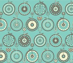 Bicycle Love - turquoise & charcoal - kayajoy - Spoonflower