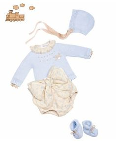 Conjunto bebe Knitting For Kids, Sewing For Kids, Baby Knitting, Crochet Baby, Little Girl Outfits, Kids Outfits, Tricot Baby, Baby Words, Spanish Fashion