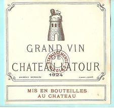 WINE LABEL/etiquette vin - old CHATEAU LA TOUR 1924 - RARE (4043)