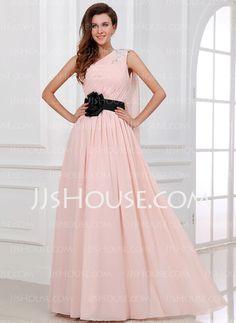 A-Line/Princess One-Shoulder Floor-Length Chiffon Holiday Dress With Ruffle Sash Beading (020017306) - JJsHouse