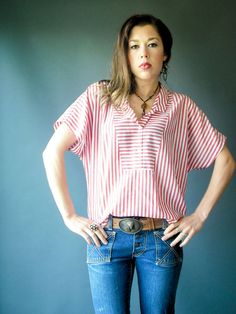 Paper Thin Nautical Vintage 80's Red and White Stripe Dolman Blouse by viralthreads