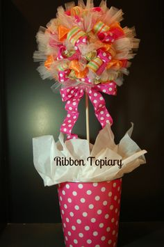 A darling Ribbon Topiary!  Full tutorial on how to make your own!