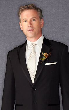 The Guys Tuxes from Men's Warehouse Wilke-Rodriguez Two-Button Black Satin Edge Notch Lapel