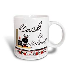 3dRose Back to School Supplies and Apples, Ceramic Mug, 11-ounce