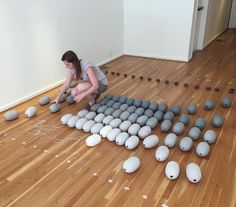"""TCS Resident Artist Mimi McPartlan (@miiiiiiiimi) is carefully mapping her work out in our galleries in preparation for installing her solo exhibition, """"Fleeting,"""" which opens this Friday! Can't wait to see it! ___________________________________ #tcs_resident_artists #mimcpartlan #installation #fleeting #firstfriday #ceramics #theclaystudio #philly #oldcityphiladelphia"""