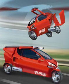 Flying car PAL-V  € 250.000,- Das einzelne Flügelblatt und der Propeller bleiben zusammengeklappt, bis das Fahrzeug flugbereit ist. Der Auftrieb kommt von der Kraftstoffeffizient (Benzin, Diesel) dank umweltfreundlichem zertifiziertemAutomotor (3,4l/100km bei einer Geschwindigkeit von 100km/h), Höchstgeschwindigkeit: Autobahn/Luft 200km/h, sehr kurze Ab- und Anflugsfähigkeit. Land: 0-100 km/h <5sek. Erforderlich: Pilotenlizenz, Führerschein Klasse B, Motorradführerschein.