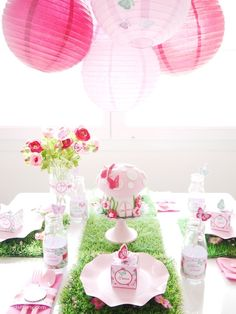 Pink pixie fairy birthday party ideas with lots of DIY decorations, party food, a homemade toadstool cake and printables! - BirdsParty.com