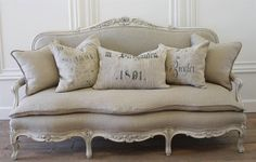 Antique country French linen sofa settee by FullBloomCottage on Etsy https://www.etsy.com/listing/400943463/antique-country-french-linen-sofa-settee