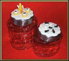 Frascos para guardar café  e açucar decorados com biscuit