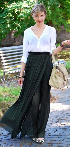 Diesel Black High Waisted Pleated Maxi Skirt