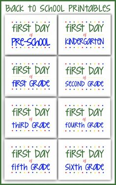 FREE Back to School Printables - Perfect for first day of school pictures!