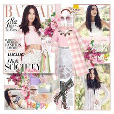 """Megan Fox Poses for Harper's Bazaar Arabia 2015"" by merrygorounds ❤ liked on Polyvore featuring Sophia Webster, Oscar de la Renta, TIBI, women's clothing, women's fashion, women, female, woman, misses and juniors"