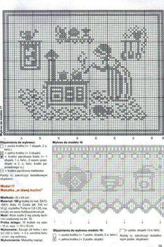 Schema punto croce The Bunnie Hutch 02 Filet Crochet Charts, Crochet Motifs, Crochet Borders, Crochet Cross, Crochet Diagram, Crochet Home, Crochet Doilies, Cross Stitch Samplers, Crochet Tutorials