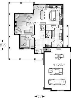 First Floor Plan of Country   House Plan 65475- 2 floors