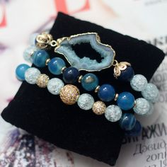Браслеты из натурального камня - купить или заказать в интернет-магазине на Ярмарке Мастеров | Комплект браслетов из натуральных камней .<br /> …