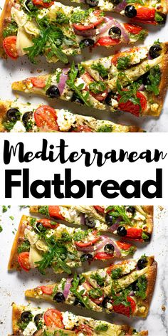 This Mediterranean Flatbread pizza is the perfect quick and easy vegetarian dinner for a busy weeknight! My 5 Minute Fla Mediterranean Pizza, Easy Mediterranean Diet Recipes, Flatbread Pizza Recipes, Flatbread Ideas, Grilled Flatbread Pizza, Naan Pizza, Pesto Pizza, Veggie Pizza, Comida Pizza