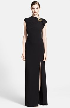 Free shipping and returns on ESCADA Embellished Column Gown at Nordstrom.com. An embroidered ring rimmed in goldtone beads anchors the gathered neckline of a regal cap-sleeve gown designed in a slinky column silhouette that's eased by a floor-scaling front slit.
