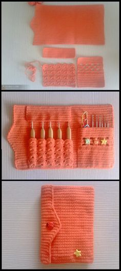 This post was discovered by Ni Crochet Hook Case, Crochet Motif, Crochet Hooks, Crochet Organizer, Knitting Patterns, Crochet Patterns, Crochet Purses, Crochet Slippers, Crochet Gifts