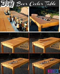Beer cooler table can also be used to put oysters in and make an oyster bar!