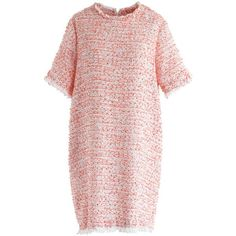 Chicwish Rosy Stunner Tweed Shift Dress (175 BRL) ❤ liked on Polyvore featuring dresses, pink, pink shift dresses, chicwish dresses, pink tweed dress, tweed shift dress and shift dress
