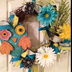 Cute spring owl wreath
