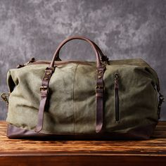 24fd2a3336 Handmade Waxed Canvas Leather Travel Bag Duffle Bag Holdall Luggage  Weekender Bag 12031 - Army Green