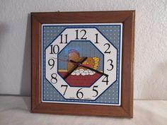Soooo Cute Vintage Tile/Wood Rooster Clock by thingsbybrinda on Etsy