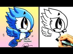 fun2draw animals | How to Draw Cute Cartoons - How to Draw a Bird - Blue Jay