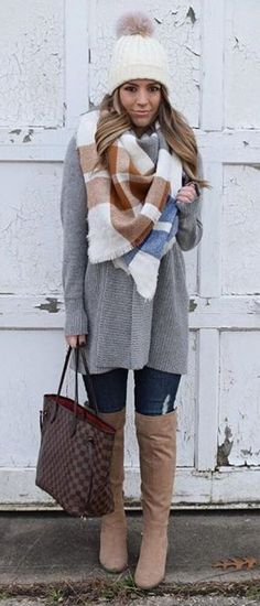 White Beanie / Printed Scarf / Grey Coat / Navy Ripped Skinny Jeans / Beige OTK Boots