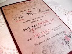Printable VINTAGE WEDDING INVITATIONS - Sacramento Suite (Vintage Rose Invitation) by Elisa H.